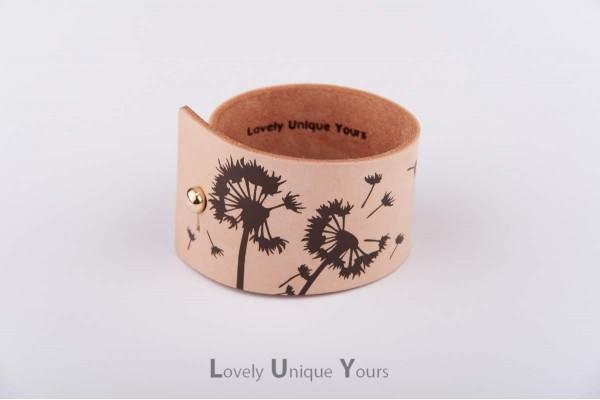 Жіночий шкіряний браслет LUY N9 DENDELION - коричневий