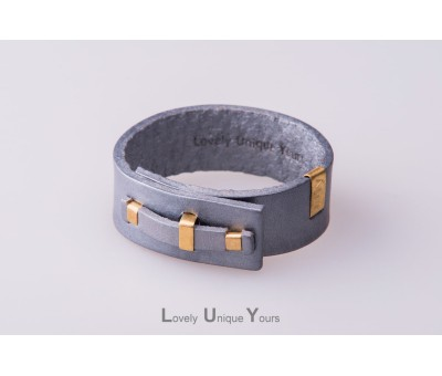 Жіночий шкіряний браслет LUY N. 1 один оберт (срібло)