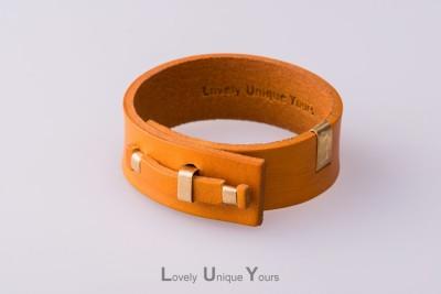 Жіночий шкіряний браслет LUY N. 1 один оберт (жовтий)