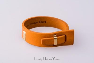Жіночий шкіряний браслет LUY N. 2 один оберт (жовтий)