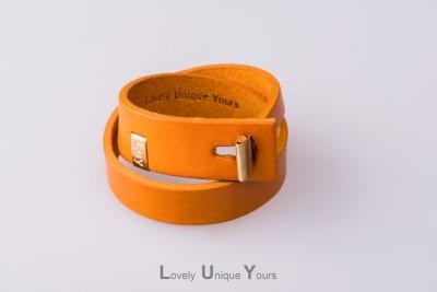 Жіночий шкіряний браслет LUY N. 3 два оберти (жовтий)