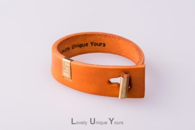 Жіночий шкіряний браслет LUY N. 3 один оберт (помаранчевий)