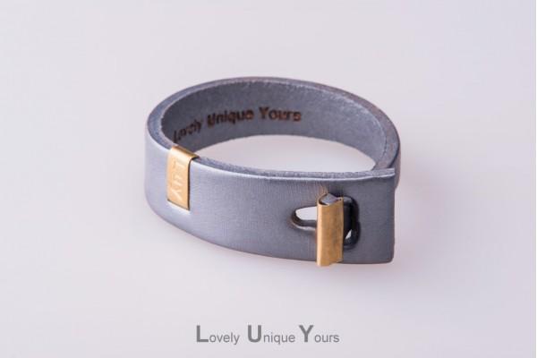 Жіночий шкіряний браслет LUY N. 3 один оберт (срібло)