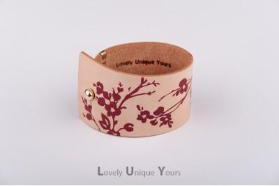 Жіночий шкіряний браслет LUY N9 FLORAL - бордо