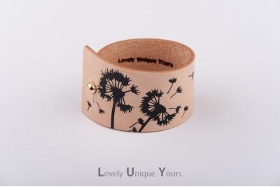 Жіночий шкіряний браслет LUY N9 DENDELION - чорний